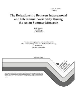 Primary view of object titled 'The relationship between intraseasonal and interannual variability during the asian summer monsoon'.