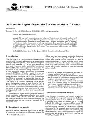 Primary view of object titled 'Searches for physics beyond the standard model in ttbar events'.