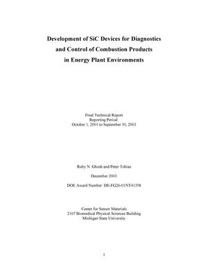 Primary view of object titled 'DEVELOPMENT OF SiC DEVICES FOR DIAGNOSTICS AND CONTROL OF COMBUSTION PRODUCTS IN ENERGY PLANT ENVIRONMENTS'.