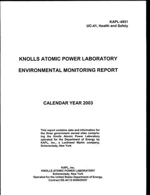 Primary view of object titled 'Knolls Atomic Power Laboratory Environmental Monitoring Report, Calendar Year 2003'.