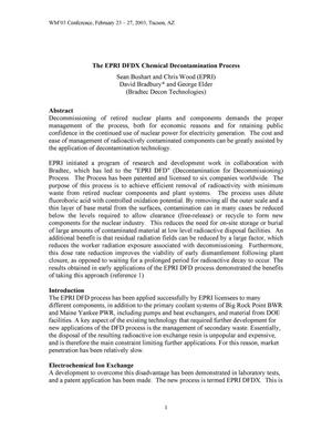 Primary view of object titled 'The EPRI DFDX Chemical Decontamination Process'.