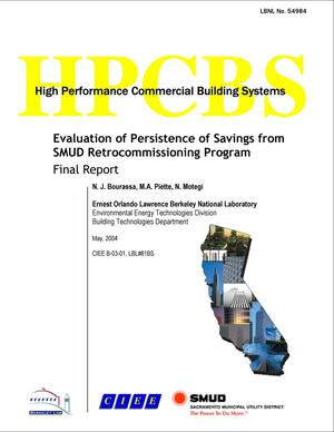 Primary view of object titled 'Evaluation of Persistence of Savings from SMUD Retrocommissioning Program'.