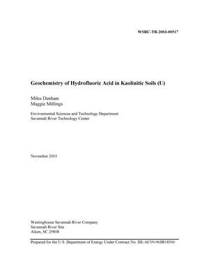 Primary view of object titled 'Geochemistry of Hydrofluoric Acid in Kaolinitic Soils'.