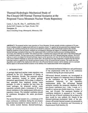 Primary view of object titled 'Thermal-Hydrologic-Mechanical Study of Pre-Closure Off-Normal Thermal Scenarios at the Proposed Yucca Mountain Nuclear Waste Repository'.