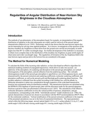 Primary view of object titled 'Regularities of Angular Distribution of Near-Horizon Sky Brightness in the Cloudless Atmosphere'.