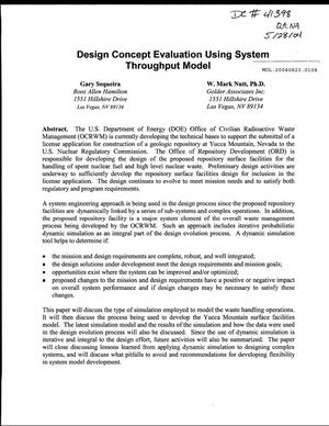 Primary view of object titled 'Design Concept Evaluation Using System Throughput Model'.