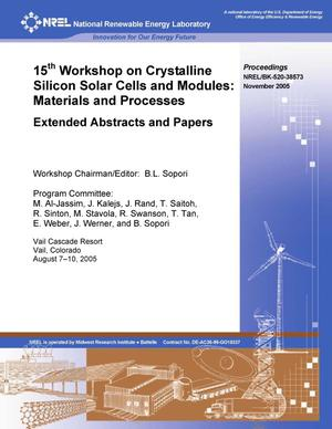 Primary view of object titled '15th Workshop on Crystalline Silicon Solar Cells and Modules: Materials and Processes; Extended Abstracts and Papers'.
