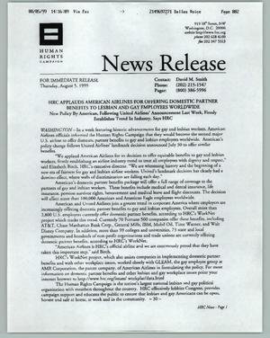 Primary view of object titled '[News Release from the Human Rights Campaign on domestic partner benefits]'.