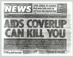 Primary view of object titled '[Tabloid article on the AIDS virus transmission]'.
