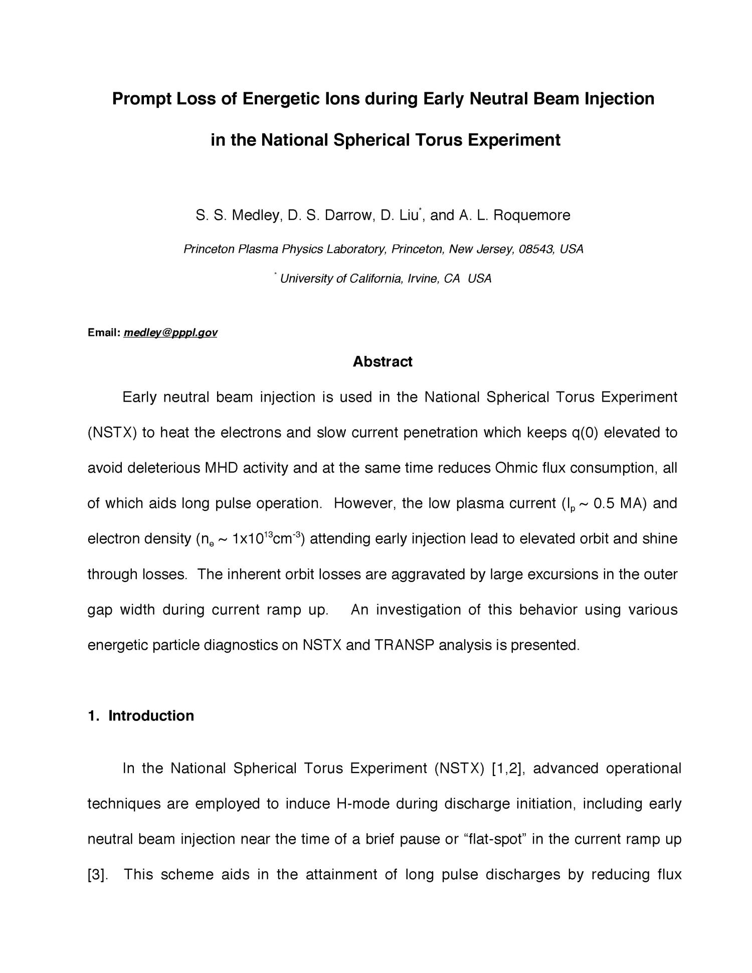 Prompt Loss of Energetic Ions during Early Neutral Beam Injection in the National Spherical Torus Experiment                                                                                                      [Sequence #]: 3 of 35