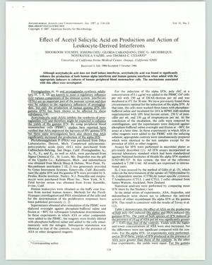 Primary view of object titled '[Journal Article: Effect of Acetyl Salicylic Acid on Producation and Action of Leukocyte-Derived Interferons]'.