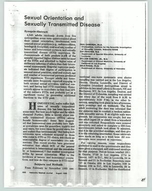 Primary view of object titled '[Report of findings on STD affliction]'.