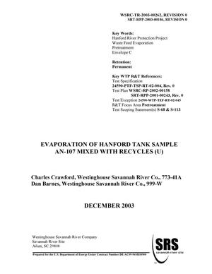 Primary view of object titled 'Evaporation of Hanford Tank Sample AN-107 Mixed with Recycles'.