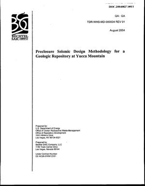 Primary view of object titled 'Preclosure Seismic Design Methodology for a Geologic Repository at Yucca Mountain'.