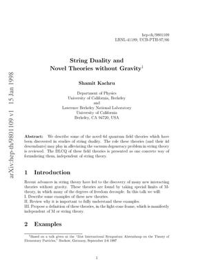 Primary view of object titled 'String duality and novel theories without gravity'.