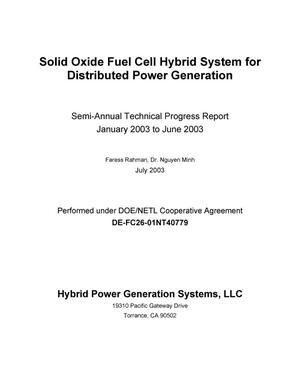Primary view of object titled 'SOLID OXIDE FUEL CELL HYBRID SYSTEM FOR DISTRIBUTED POWER GENERATION'.