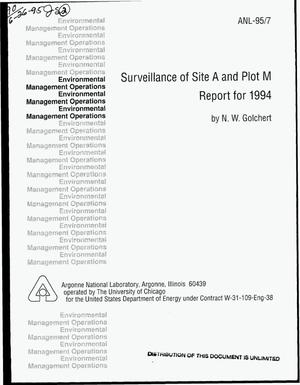 Primary view of object titled 'Surveillance of Site A and Plot M report for 1994'.