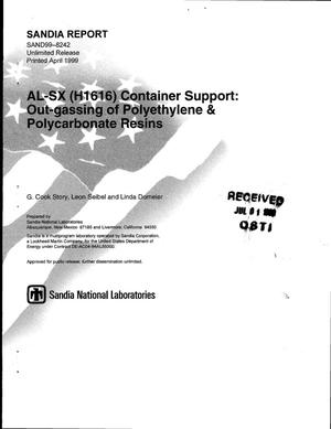 Primary view of object titled 'AL-SX (H1616) Container Support: Out-gassing of Polyethylene and Polycarbonate Resins'.