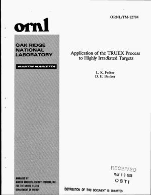 Primary view of object titled 'Application of the TRUEX process to highly irradiated targets'.
