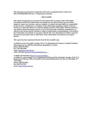 Primary view of SRNL Engineering Development Laboratory Pulse Jet Testing Capabilities