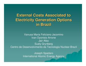 Primary view of object titled 'External Costs Associated to Electricity Generation Options in Brazil'.