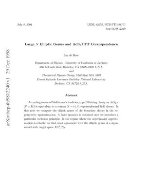 Primary view of object titled 'Large N elliptic genus and AdS/CFT Correspondence'.