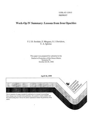 Primary view of object titled 'Work-Op IV summary: lessons from iron opacities'.