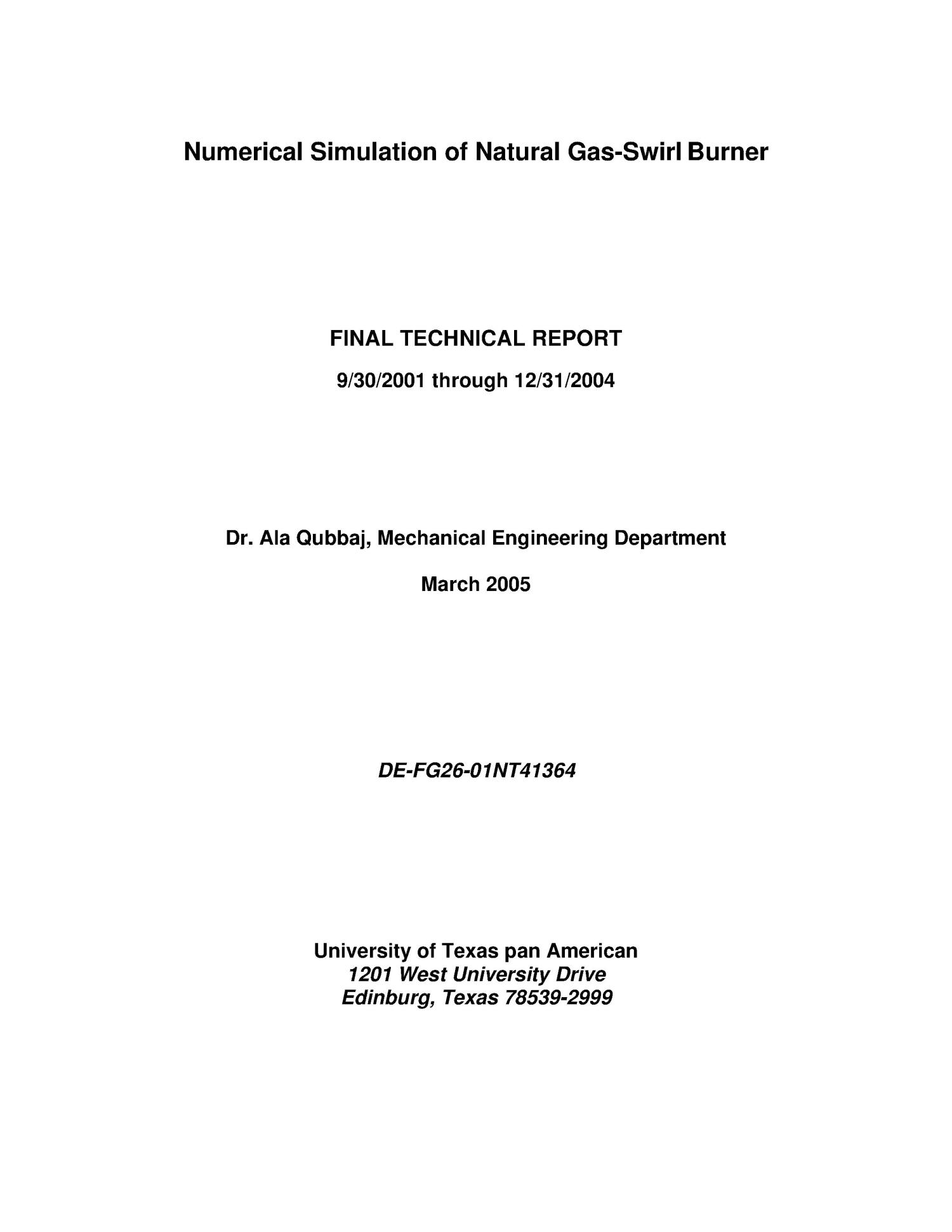 Numerical Simulation of Natural Gas-Swirl Burner                                                                                                      [Sequence #]: 1 of 20