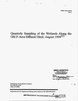 Primary view of object titled 'Quarterly sampling of the wetlands along the old F-Area effluent ditch: August 1994. Revision 1'.