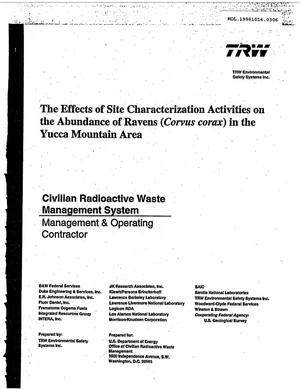 Primary view of object titled 'The Effects of Site Characterization Activities on the Abundance of Ravens (Corvus corax) in the Yucca Mountain Area'.