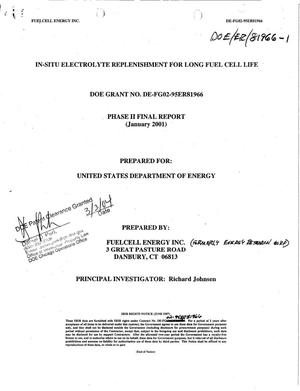 Primary view of object titled 'In-Situ Electrolyte Replenishment for Long Fuel Cell Life. Phase II Final Report'.