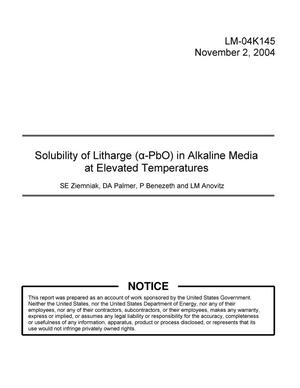 Primary view of object titled 'Solubility of Litharge (a-PbO) in Alkaline Media at Elevated Temperatures'.