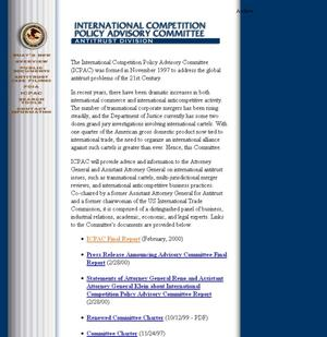 DOJ/Antitrust: International Competition Policy Advisory Committee