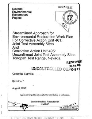Primary view of object titled 'Streamlined Approach for Environmental Restoration Work Plan for Corrective Action Unit 461: Joint Test Assembly Sites and Corrective Action Unit 495: Unconfirmed Joint Test Assembly Sites Tonopah Test Range, Nevada'.