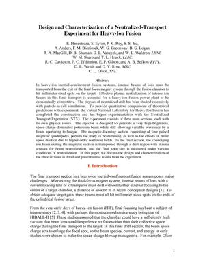 Primary view of object titled 'Design and characterization of a neutralized-transport experiment for heavy-ion fusion'.