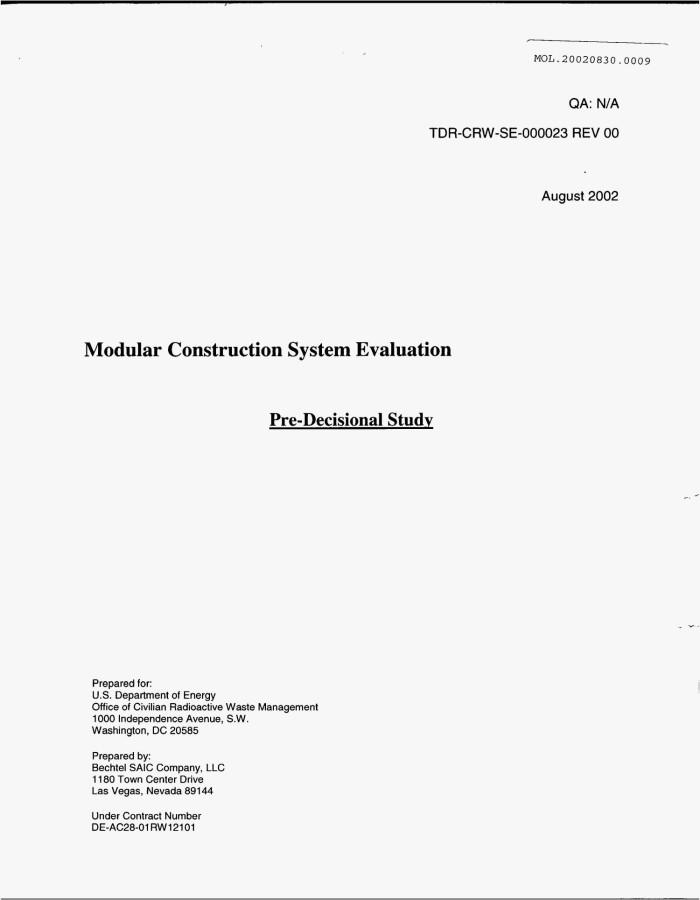 MODULAR CONSTRUCTION SYSTEM EVALUATION - Digital Library