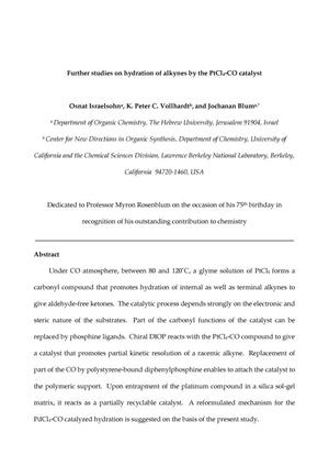 Primary view of object titled 'Further studies on hydration of alkynes by the PtCl4-CO catalyst'.