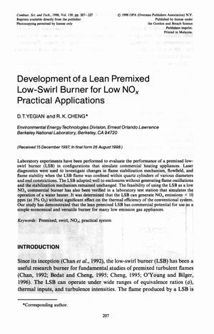 Primary view of object titled 'Development of lean premixed low-swirl burner for low NO{sub x} practical application'.