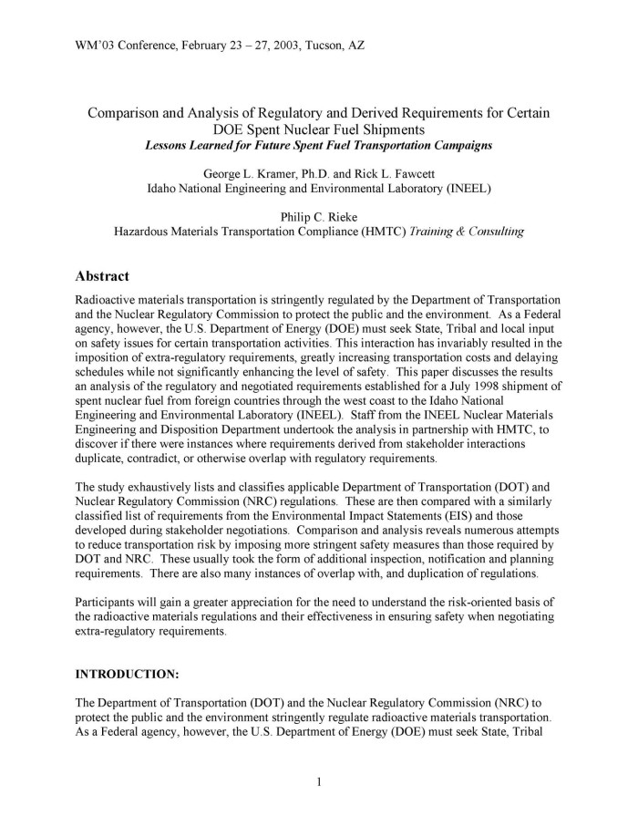 comparison and analysis of regulatory and derived requirements for