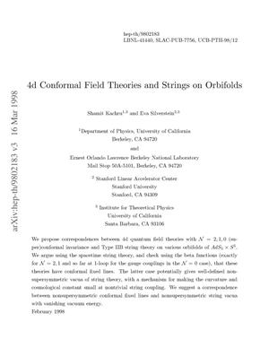 Primary view of object titled '4-D conformal field theories and strings on orbifolds'.