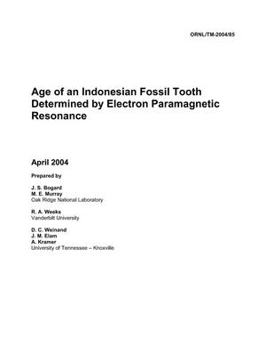 Primary view of object titled 'Age of an Indonesian Fossil Tooth Determined by Electron Paramagnetic Resonance'.