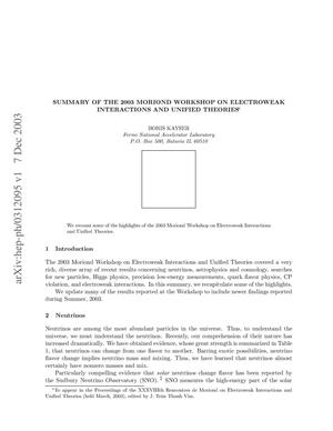 Primary view of object titled 'Summary of the 2003 Moriond Workshop on electroweak interactions and unified theories'.