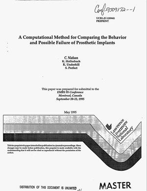 Primary view of object titled 'A computational method for comparing the behavior and possible failure of prosthetic implants'.