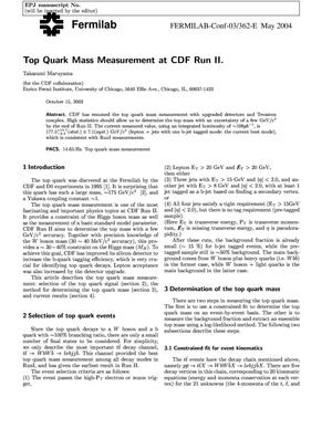 Primary view of object titled 'Top quark mass measurement at CDF Run-II'.