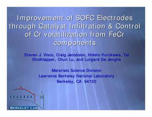 Primary view of object titled 'Improvement of SOFC Electrodes through Catalyst Infiltration & Control of Cr Volatilization from FeCr Components'.