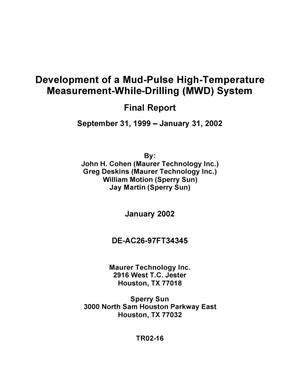 Primary view of object titled 'DEVELOPMENT OF A MUD-PULSE HIGH-TEMPERATURE MEASUREMENT-WHILE-DRILLING (MWD) SYSTEM'.