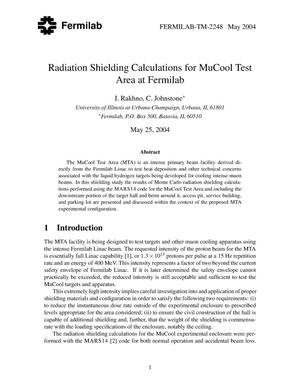 Primary view of object titled 'Radiation shielding calculations for MuCool test area at Fermilab'.