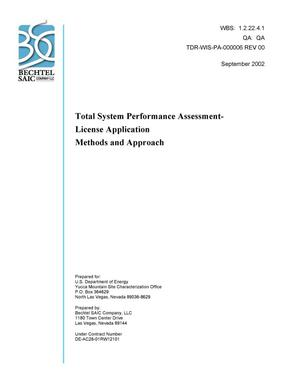 Primary view of object titled 'Total System Performance Assessment-License Application Methods and Approach'.