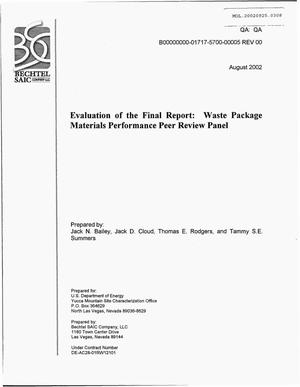 Primary view of object titled 'Evaluation of the Final Report: Waste Package Materials Performance Peer Review Panel'.