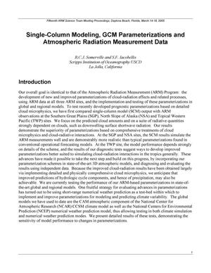 Primary view of object titled 'Single-Column Modeling, GCM Parameterizations and Atmospheric Radiation Measurement Data'.